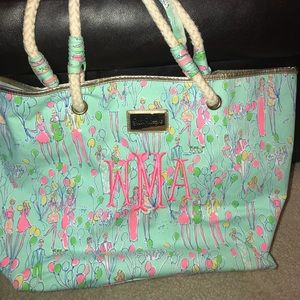 LILLY PULITZER Balloon Tote Beach Bag Rope handle